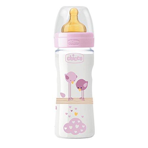 Chicco Benessere Plastica Bambina Biberon, Caucciù, Flusso Medio, 250 ml, Rosa