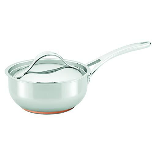 Anolon Nouvelle Stainless Steel Sauce Pan/Saucepan/Saucier with Lid, 2.5 Quart, Silver