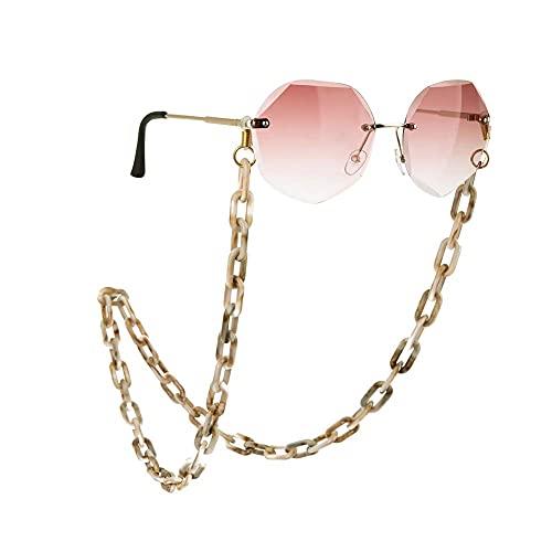 AMOZ Gafas Acrílicas Cadena Gafas de Sol Cadenas Cordones Soporte para Gafas de Lectura Accesorios para el Cuello Correas,Blanco Marrón
