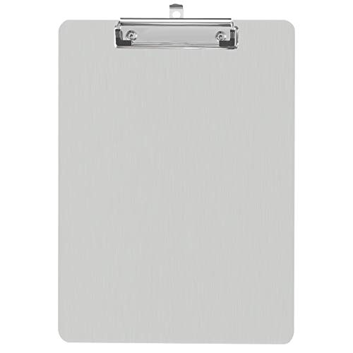 Metal Clipboard Recycled Aluminum Document Holder Steel Stainless Hangable Low Profile Clip Letter Size A4 File Paper Sheet, Ultra Quality for Office Business School Teach Jobsite Laboratory Medical