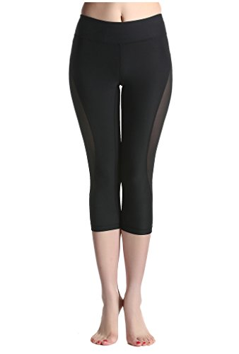 Lotsyle Mujeres Panel de Malla impresión de Entrenamiento Deportivo Yoga Capri Pantalones Leggings - Negro - M