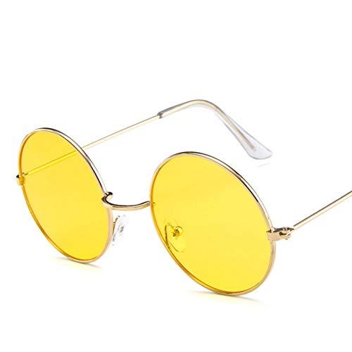 YIERJIU Gafas de Sol Pequeño Cateye Round Cute Retro Cat Eye Sunglasses Mujeres Small Black White Vintage Cheap Sunglasses Oculos De Sol,Gelb
