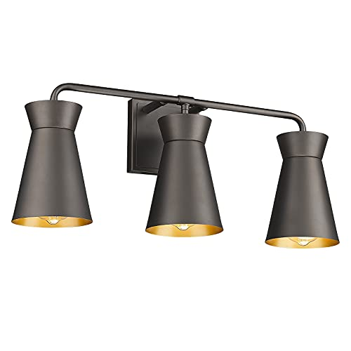 FEMILA Bathroom Vanity Light Fixtures, 3 Light Vintage Wall Sconce Lighting with Oil Rubbed Bronze Finish for Mirror Cabinet, Dressing Table, HE226B-3W ORB