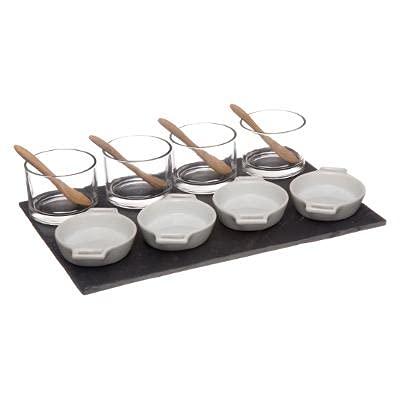 Juego de cuencos para aperitivos de primera calidad en bandeja de pizarra/13 piezas/cuencos para postre, salsas, para servir, aperitivos, souffle, para servir, para servir, etc.