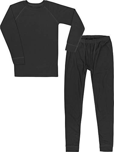 Kinder Thermounterwäsche-Set mit Quick Dry Funktion - (Langärmligem Oberteil + Langer Unterhose) - schnelltrocknend, Wärmend und Kuschelig - ÖkoTex100 Farbe Schwarz Größe 122-128