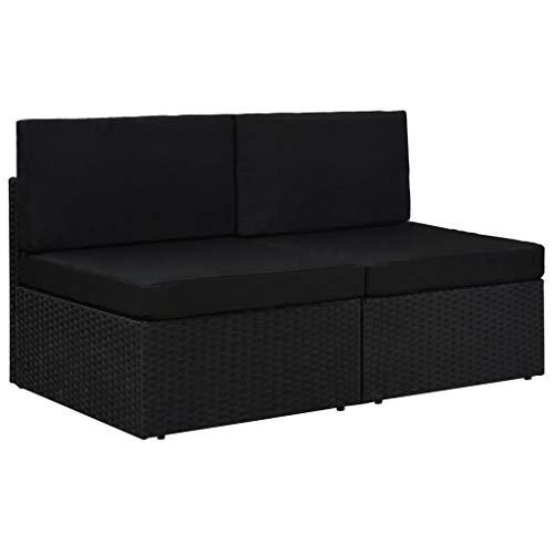 vidaXL Sofa 2-Sitzer Modular Gartenmöbel Mittelsofa Gartensofa Rattansofa Rattanmöbel Lounge Gartenset Garnitur Sitzgruppe Poly Rattan Schwarz