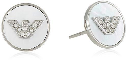 Emporio Armani Pendientes de mujer con acero inoxidable, cristal redondo