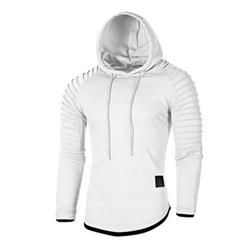 Xmiral Herren Sweatshirt Top Herbst Langarm Plaid Hoodie Mit Kapuze T-Shirt Outwear Streetwear Kapuzenpullover Outdoor Sportbekleidung(Y Weiß,XL)