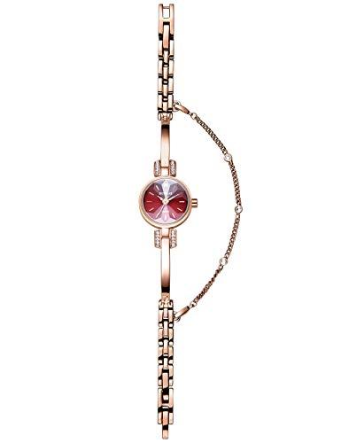 Reloj Mujer Niña Delgado Cuarzo Analógico Esfera Cristal Estrellado Correa de Acero Inoxidable Reloj Redondo Reloj Impermeable Ultrafino Elegante Oro Rosa Circonio