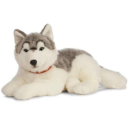 Nature-AN478 Living Nature - Peluche gigante para perro Husky, color gris y blanco (60 cm), grey & white (Keycraft AN478 , color/modelo surtido