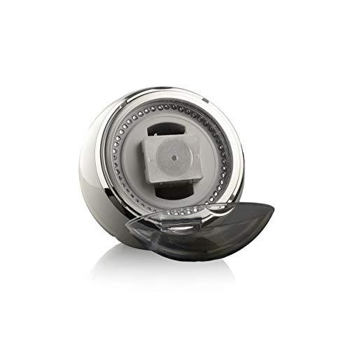 Watchwell® Uhrenbeweger Globe Shine Weiß, Zirkonia Edelsteine, Blaue LED Beleuchtung, für 1 Automatikuhr
