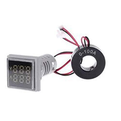 Persdico Amperímetro digital LED cuadrado, voltímetro, amperímetro AC60-500V AC 0-100A AD16 一 22FVA, potente medidor de probador de voltaje de corriente de mesa