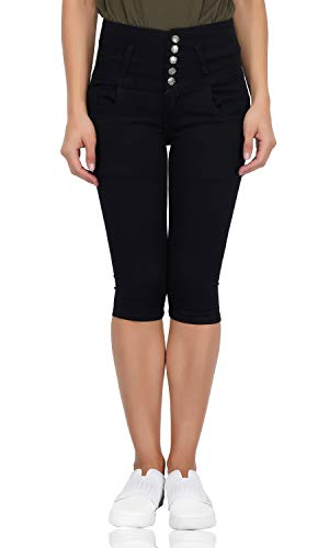 LUXSIS Black Denim Lycra Skinny Casual 5 Buttoned High Waist...