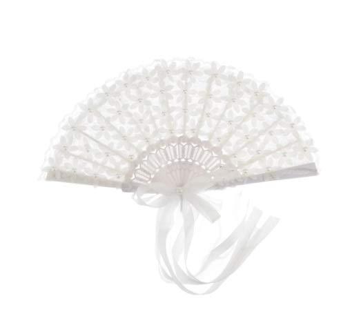 XKMY Abanico de novia en encaje Vintage Nupcial Ramo de encaje Abanico de cristal Ramo de dama de honor Ramo de boda Accesorios de