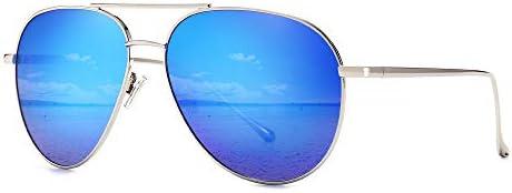SUNGAIT Women s Lightweight Oversized Aviator Sunglasses Mirrored Polarized Lens Silver Frame product image