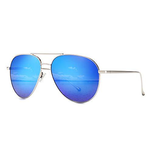 SUNGAIT Gran Tamaño Gafas de Sol Ligeras para Mujer con Lente Polarizada Espejada(Plateado/Oceano Azul)-SGT603