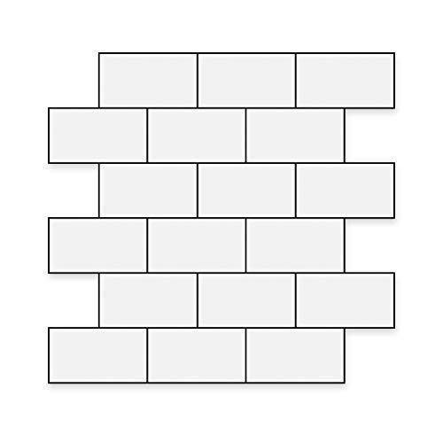 Art3d Subway Backsplash Fliesen-Abziehen und Aufkleben, dickere Version, 10 Blatt à 30,5 x 30,5 cm, weiße Platte für Küche, aus Aluminium-PVC-Verbundplatte