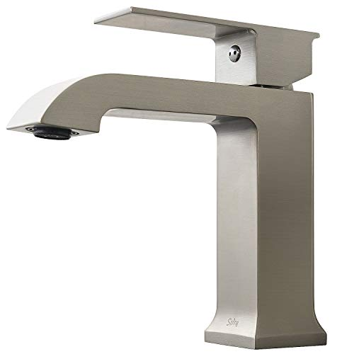 Spring Brushed Nickel Bathroom Sink Faucet Single Handle - Brass Material Faucet 1-Hole Easy Installation Pop-up Drain Assembly Included, WCX168075NN by Koozzo