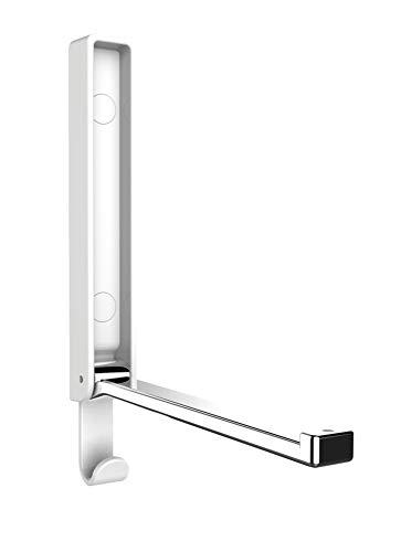 WENKO Klapphaken Premium Gamma, klappbarer Wandhaken zum Anbohren, mit Abrutschsicherung, gutes Design, Kunststoffgehäuse und stabiler Metallhaken, 2,5 x 18 x 1,5 cm, Weiß