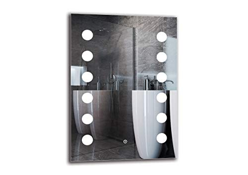 Espejo LED Deluxe - Dimensiones del Espejo 50x70 cm - Interruptor tactil - Espejo de baño con iluminación LED - Espejo de Pared - Espejo con iluminación - ARTTOR M1CD-14-50x70 - Blanco cálido 3000K