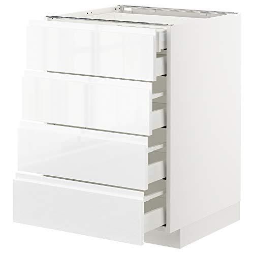 METOD/MAXIMERA base cb 4 frnts/2 bajos/3 md drwrs 60x62.1x88 cm blanco/Voxtorp alto brillo/blanco