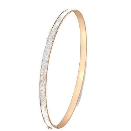 Lucardi - 375 Gold Bangle-Armreif, glitzernd, rosa - für Damen - Rosa