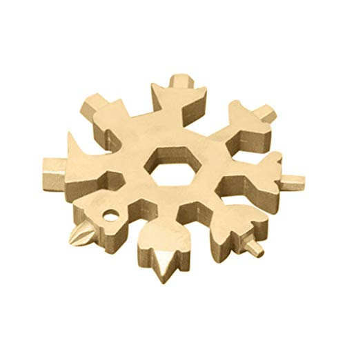 19-in-1 Schneeflocke Multitool Karte, Edelstahl Fahrrad Multifunktionswerkzeug tragbare Handwerkzeuge Schraubendreher Flaschenöffner Ringschlüssel Sechskantschlüssel für Outdoor, Camping