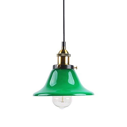 "Lámpara colgante de iluminación de techo colgante vintage industrial Lámpara colgante de lámpara colgante de loft para cafetería Coffee Island con pantalla de vidrio verde de 7.87"""