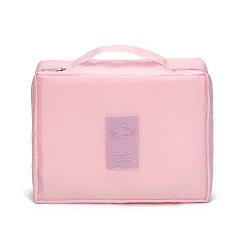 Heng Femmes Maquillage Sac en Nylon Cosmétique Sac de beauté Cas Maquillage Organisateur Féminin Trousse de Toilette Kits De Stockage Voyage Pochette De Lavage, Rose, 24 cm-20 cm-8.5 cm