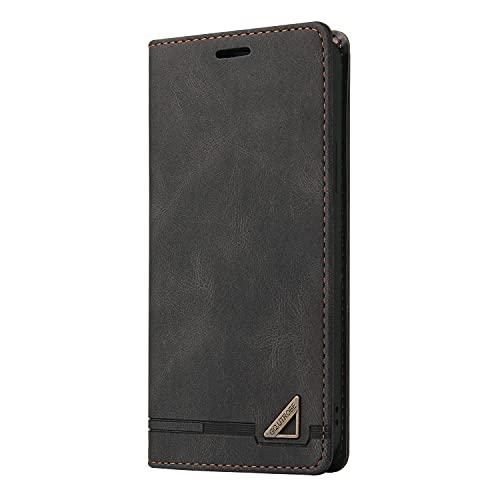 Midmelon - Funda de protección para teléfono Samsung Galaxy A82 5G, piel sintética, con tapa, tarjetero, ranuras e imantado, color negro