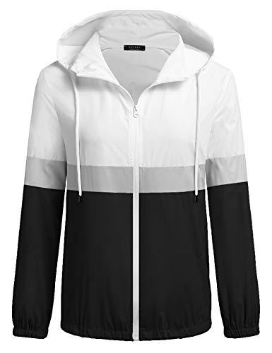 SoTeer Women's Waterproof Raincoat Outdoor Hooded Rain Jacket Windbreaker, Black/White S