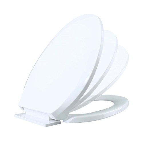 Elongated Slow Close Toilet Seat In White Durable High Impact Plastic Comfortable Quiet Easy Closing Lid Design