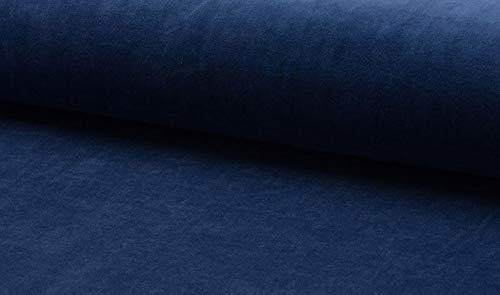 Qualitativ hochwertiger Nicki Stoff, Samt in unifarben Blau als Meterware zum Nähen von Erwachsenen, Kinder- und Baby Kleidung, 50 cm