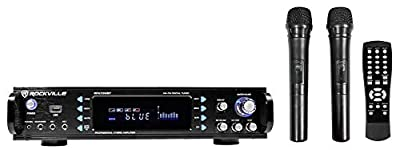 Rockville RPA70WBT 1000w 2-Ch Bluetooth Karaoke Amplifier/Mixer+Wireless Mics