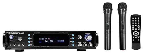 Rockville RPA70WBT 1000w 2-Ch USB Bluetooth Pro/Karaoke Amplificador/Mezclador + (2) Mics, Negro