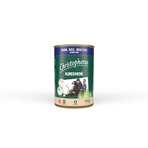 Christopherus Hundemenü Senior, Mit Huhn, Reis, Broccoli, Vollnahrung für ältere Hunde, Nassfutter, 6 x 400 g