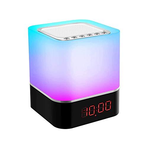 Nachttischlampe Touch Dimmbar Bluetooth Lautsprecher, Nachtlicht für Schlafzimmer LED Tischlampen mit digitalem Wecker, MP3-Player, ST-Karte, USB wiederaufladbare RGB Leuchten für Kinder Erwachse