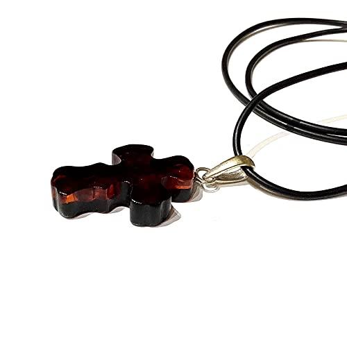 Colgante de cruz de ámbar con cordón de caucho de 65 cm y plata de ley 925 Loop, colgante de cruz de ámbar