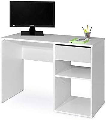 TopKit 5010BL Table de Bureau Burgos 5010 avec tiroir (Largeur 100 cm), Blanc, Plateau aggloméré Haute densité et mélamine avec Grande résistance aux Rayures, 50 x 100 x 75 cm