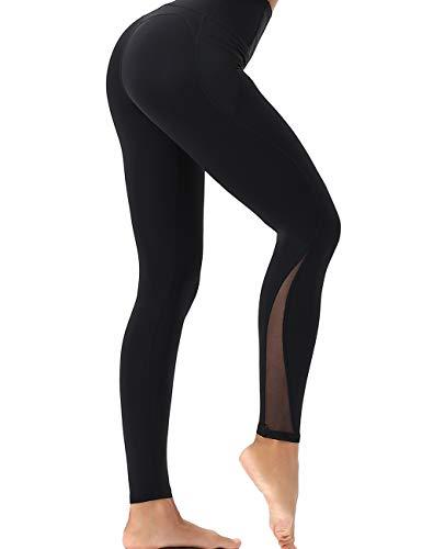 GLESTORE Legging de Sport Femmes Taille Haute Pantalon de Yoga Sexy Slim Fitness Collant avec Poches pour Jogging Gym Pilates A-Noir S
