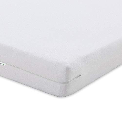 TextilECO Cubre Colchon 90x190. Protector de Colchon 90 Rizo 100% Algodon. Funda Colchon 90x190 con Cremallera.Antiacaros Suave Lavable. Bielastic. Cama 90 x 190 200 cm