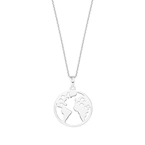 amor Kette mit Anhänger für Damen mit Weltkugel-Anhänger, Globus, glänzendes Silber 925
