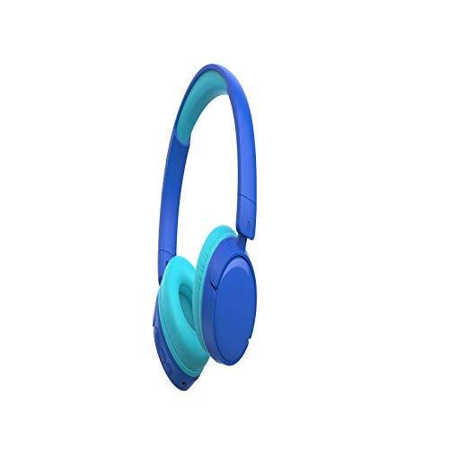 Feigner - Auriculares inalámbricos para niños con regulador de volumen de 85 db, auriculares estéreo de subwoofer, orejeras de proteína de memoria suave, micrófono integrado con cancelación de ruido