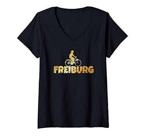 Damen Freiburg Fahrrad (Vintage Gelb) Fahrradfahrerin T-Shirt mit V-Ausschnitt