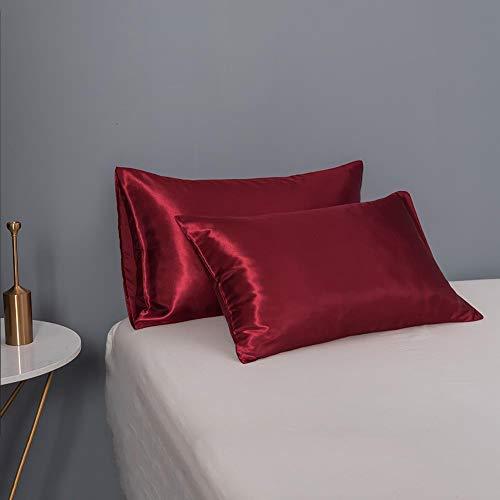 Greenf 2 fundas de almohada de seda 50 x 102 cm, fundas de almohada de satén de doble cara, funda de almohada suave para el cabello y la piel, antiedad, ácaros y transpiración, 20 x 40 cm, color rojo