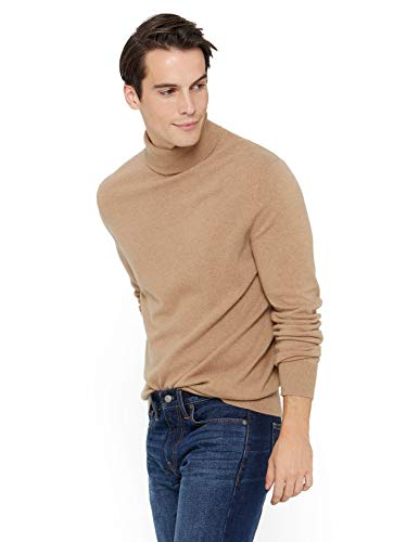 State Cashmere Men's Classic Turtleneck Sweater 100% Pure Cashmere Long Sleeve Pullover (Large, Camel)