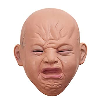wastreake Smiling Crying False Front Latex Headdress Crying Baby Face Halloween Party Headdress Suitable for Halloween Costume Party Carnival Cosplay