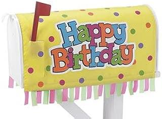 Yellow Festive Happy Birthday Mailbox Cover