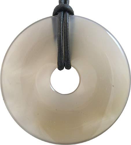 Natur Achat Donut als Geschenkset mit Lederband, 30 mm, echter Edelstein ungefärbt blau-grau