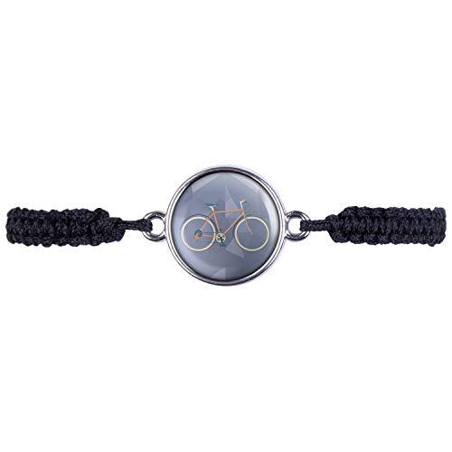 Mylery Armband mit Motiv Renn-Rad City-Rad Rot Silber 16mm